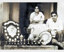 With my Mother and Trophies, 1970